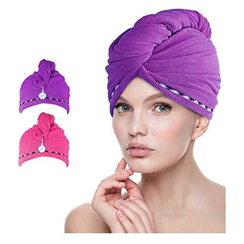 esafio Haar-Turban-Tücher, weich, Mikrofaser, schnelltrocknend, mit Knöpfen, sehr saugfähig, einzigartiges und stilvolles Design, Dunkelviolett + Pink