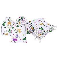 LOKIPA 12pcs Christmas Drawstring Gift Party Bag , 10 x 14cm Jute Burlap Bag Sack Pouch