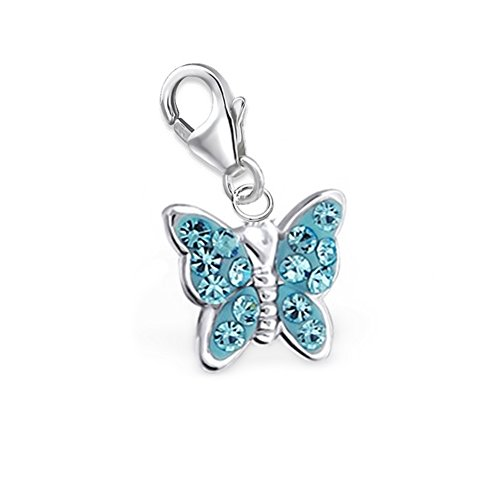 GH1a Aquamarin Kristall Schmetterling Charm Anhänger 925 Echt Silber Geschenkidee - Aquamarin Kristall Anhänger
