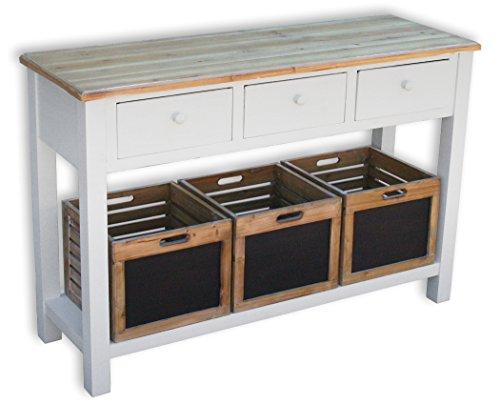 KMH®, Anrichte Alsace mit 3 Holzkörben und 3 Schubladen im Vintage-Look (#204812) -