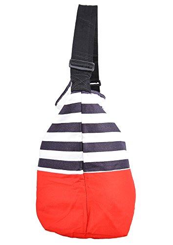 Damen Tasche Sailor Nautical Streifen Shopper Retro Bag Blau Dunkelblau / Rot / Weiß