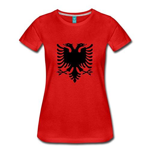 Spreadshirt Albanien Flagge Adler Shqiperia Doppeladler Frauen Premium T-Shirt, M, Rot (Land-flaggen-t-shirt)