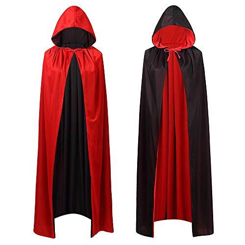 HomeMall Vampir Umhang,Kapuzenumhang Schwarz Rot Doppelseitig Mit Erwachsener Für Halloween Kostüm