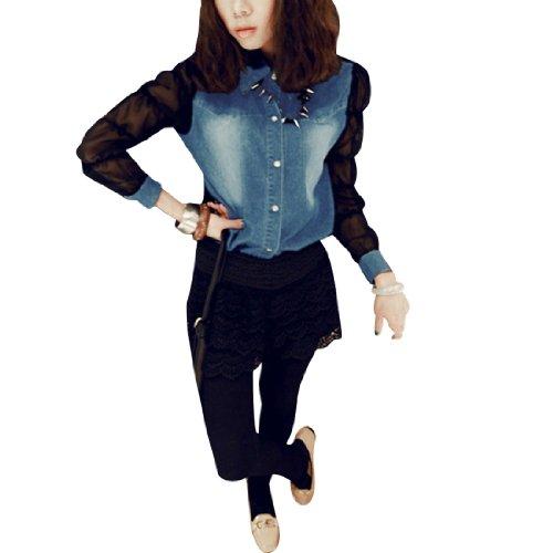 Femmes Point Col Mousseline Transparente élagué Jeans Manches Longues Chemise Bleu Clair XS Bleu