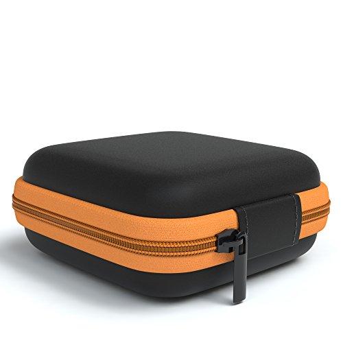 EAZY CASE Universal Tasche für In-Ear Kopfhörer mit Netzfach - Hardcase Aufbewahrungsbox, Schutztasche mit umlaufenden Reißverschluss, extra klein, eckig, Orange - 3