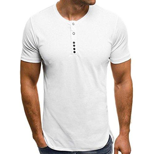 MRULIC Mode Herren Sommer Fastener Sweatshirt Rundhals T-Shirt(Weiß,EU-48/CN-XL) (Überprüfen Sie Wolle Seide Schal)