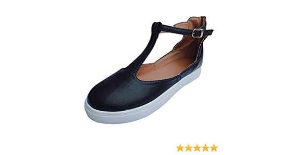 OverDose Womens Cushioned Loafers Vintage Out Shoes Round Toe Platform Flat Heel Buckle Strap Casual Shoes Sale
