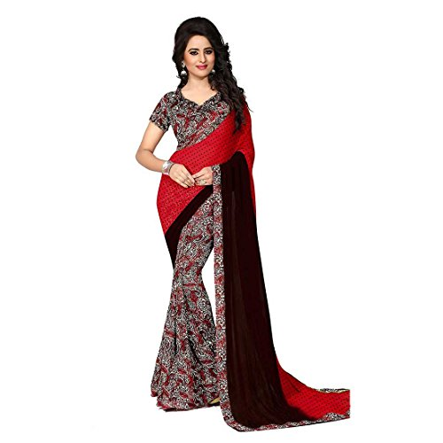 Kanchan Women's Soft Georgette Printed Saree (KTTRUMP RED_Multi Coloured)