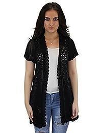 Celeb Look Short Sleeved Mid length Knit Cardigan