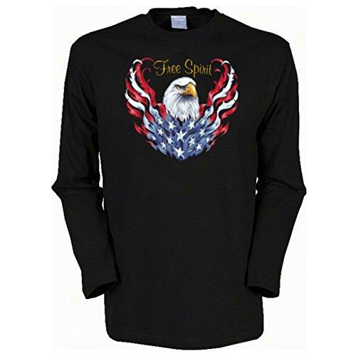 Herren Langarm-Shirt ::: Free Spirit of America ::: für USA-Fans Schwarz