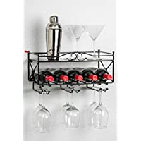 Mango Steam botellero de montaje en pared con estante y soporte para copas de vino