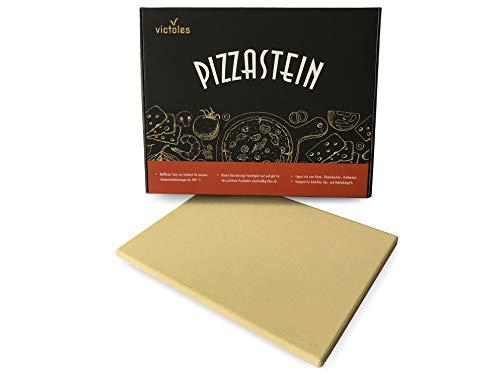 VICTOLES Pizzastein aus Cordierit | für Gasgrill, Grill und Backofen | mit Temperaturbelastungen bis zu 900 °C | 38 x 30 x 1,5 cm