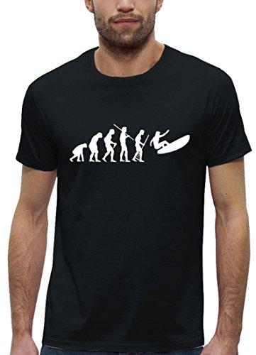 Surfer Premium Herren T-Shirt aus Bio Baumwolle EVOLUTION SURFEN Marke Stanley Stella Black