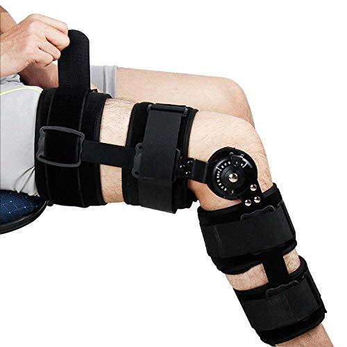 Kniebandage mit Scharnier, verstellbare Knieorthese hilft stabilisiertes Knie für Verletzungen, Erholung Arthritis Rehabilitation von Bruchbrüchen