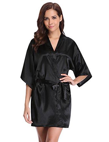 Aibrou Damen Satin Kimono Nachthemd Nachtwäsche Langer Morgenmantel Bademantel Schlafanzug Unterwäsche mit Gürtel Schwarz L