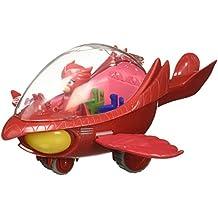PJ Masks - Vehículo Deluxe Búho Delta y Buhíta, color rojo (Bandai 24622)