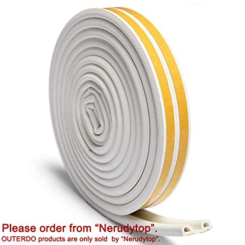 OUTERDO Rubber Seal Foam Tape Foam Seal Strip,(5 Meters x2 attached seals, total 10 Meters) D Type Self Adhesive Home Window Door Draught Rubber Excluder Soundproofing Avoidance Rubber Weatherstrip Test