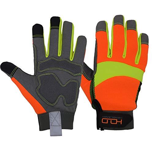 Kunstleder Hi-Vis Reflektierende Arbeitshandschuhe - Touchscreen Anti-Vibration Handschuhe, Flexible Spandex zurück, mit Einem kostenlosen Geschenk-Handschuh Grabber Clip (L) (Arbeitshandschuhe Reflektierende)