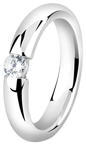 Nenalina Damenring Solitär aus 925 Sterling Silber mit Zirkonia Stein Ringgröße 56