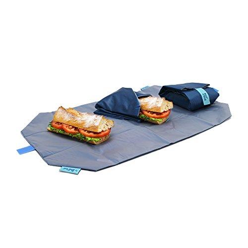 Roll' eat Boc'n'Roll, Square, Porta bocadillo reutilizable , bolsa merienda , funda bocadillo, Sin BPA, Azul