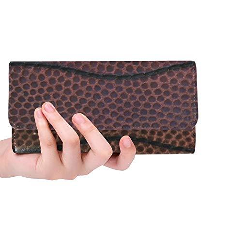 Einzigartige Benutzerdefinierte American Football Schnürsenkel Schließen Makro Frauen Trifold Brieftasche Lange Geldbörse Kreditkarteninhaber Fall Handtasche (Brieftasche Handtasche Fall)