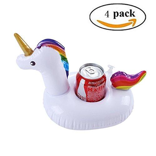 Aufblasbare Getränkehalter, 4 Stück einhorn pool getränkehalter Flaschenhalter Badespielzeug für Bier und Saft