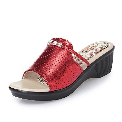 ZPPZZP Mme sandales chaussons en été épais faites glisser un champ 35EU