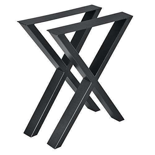 [en.casa] 2X Tischgestell 59x72cm DIY Tisch Esstisch Esszimmertisch Tischuntergestell Tischkufen Tischbein X-Gestell Schwarz Stahl