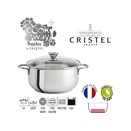 Cristel - CW MASTER INOX - FAITOUT 24 CM INDUCTION + COUVERCLE VERRE - Cristel - CWMF24