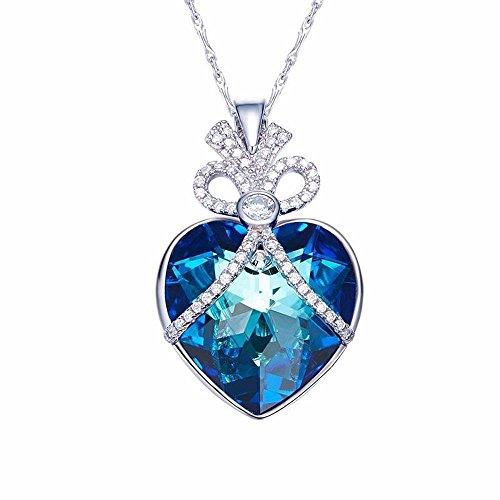 Haixin utilizzare elemento swarovski bellezza crystal necklace ornamento di moda s925 argento blu-ray