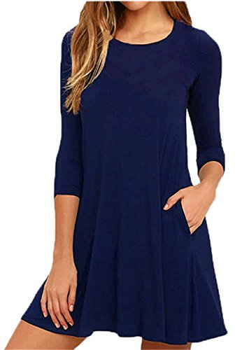 OMZIN Damen Taschen-Kleid Basic Solid ausgestelltes Saum-Tunika-Top-Kleid Marineblau XL (Polka Navy Sommerkleid Dot)