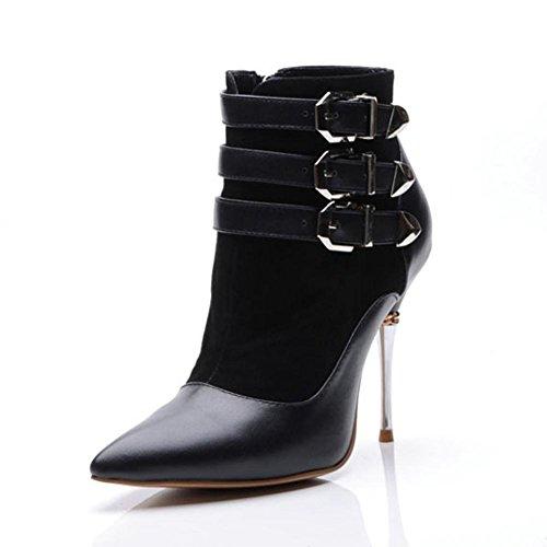 Donna breve stivali moda in pelle sottile tacchi alti a punta fibbia in metallo con cerniera a caldo caviglia scarpe, BLACK-35 BLACK-42
