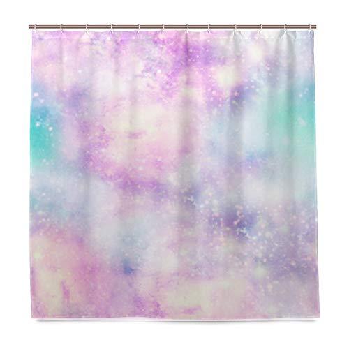 Duschvorhang 72x72 Zoll Bling Pink Wasserdichter Polyester-Badvorhang mit Haken - Duschvorhang Pink Bling