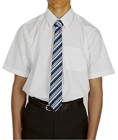 MENS BOYS SCHOOL UNIFORM LONG / SHORT SLEEVES PLAIN BLUE WHITE SHIRTS (Collar Size 17.5