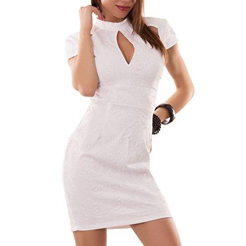 Toocool - Miniabito donna abito vestito vestitino decoro rilievo tapestry nuovo DL-1035 Bianco