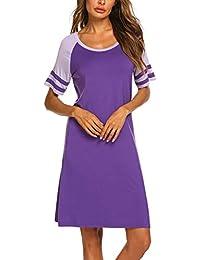 87a5a72c4d2df7 Balancora Nachthemd Damen Kurz Sommer Nachtwäsche Baumwolle Sleepshirt  Kurzarm Sexy Schlafshirt Nachtkleid S-XXL