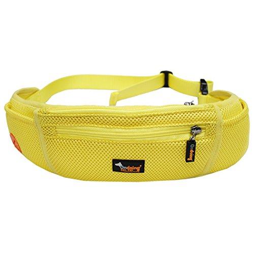 Ondoing joggen Belt Verstellbare Hüfttasche hunde leckerlibeutel leckerlitasche Sport joggen wandern und Fitness Trainingstasche mit mehreren Reißverschlusstaschen für Snacks Spielzeug Schlüsselbörse Gelb