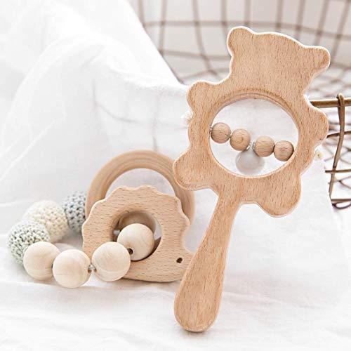Promise Babe 2pc Holz Tier Armband Baby Beißring Spielzeug Bio Holz Rassel Sensorische Kinderkrankheiten Spielzeug Pflege Kaubares Spielzeug