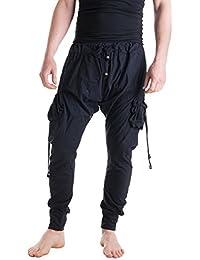 Vishes – Alternative Bekleidung – Leichte Herren Haremshose aus Baumwolle mit hohem Schritt und Tunnelzug