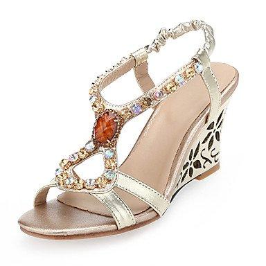 LvYuan Sandalen-Hochzeit Büro Kleid-Mikrofaser-Keilabsatz-Club-Schuhe-Gold Gold
