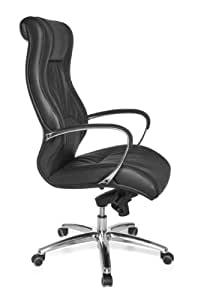 Amstyle Rimini SPM1.161 XXL Director's Chair Real Leather 5-Point Multiple Height Mechanism Office Chair up to 150 kg Weight Black