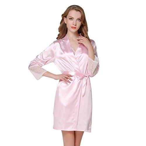 JZLPIN Donna Kimono Robe Seta Accappatoio Damigella d'onore Sexy Nozze Indumenti da Notte Loungewear Rosa