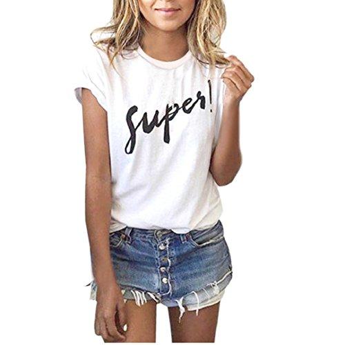 Beautyjourney maglia maglietta donna manica corte estive ragazza t shirt donna divertenti vintage tumblr magliette donna maniche corte donna estate - donna camicetta casual t-shirt (l, bianca)