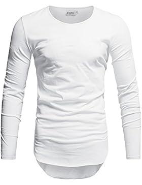Crone Herren Langarm Shirt Longsleeve Slim Fit T-Shirt Leicht Oversize Basic Sweatshirt