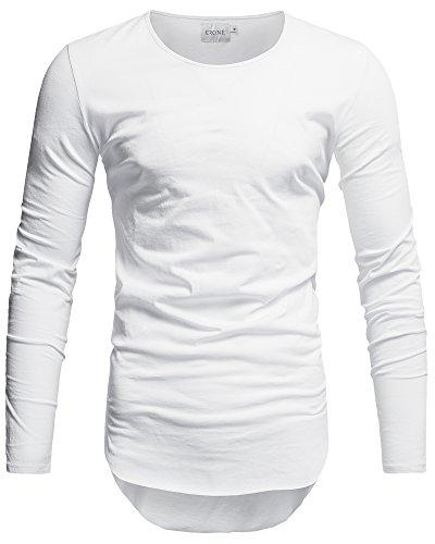 Crone Herren Langarm Shirt Longsleeve Slim Fit T-Shirt Leicht Oversize Basic Sweatshirt in vielen Farben (L, Weiss) (Herren Weiß-vintage-t-shirt)