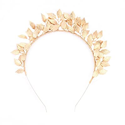 Greencolourful Beautiful Headdress Leaf Crown Alloy Headband Disc Hair Decoration Headwear for Banquet Wedding from Greencolourful