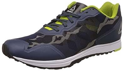 Reebok Men's Sprint Train Indigo/Yellow/ Metsil/Wht Running Shoes - 11 UK/India (45.5 EU) (12 US) (CN0232)