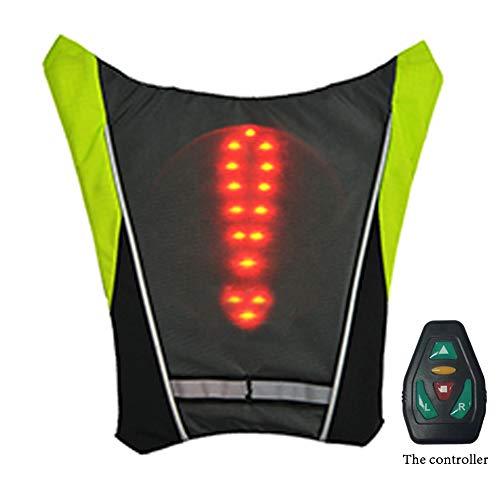 AK-BAG Rucksack Anhänger Mit LED Drahtlose Fernbedienung Warnlichter/Sicherheit Signal Licht Anmachen, Fahrrad Radfahren Einstellbar Gummiband LED-Anzeigetafel,Gray