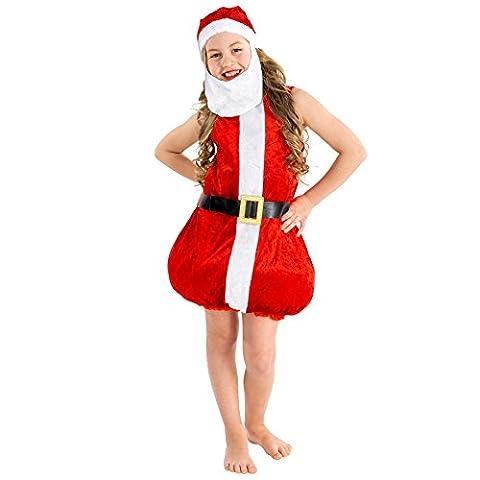 Süßes Kinder Weihnachtskostüm   Kleid unten gefüttert und ausgestellt   inkl. Zipfelmütze (3-5 Jahre   Nr. 300446)