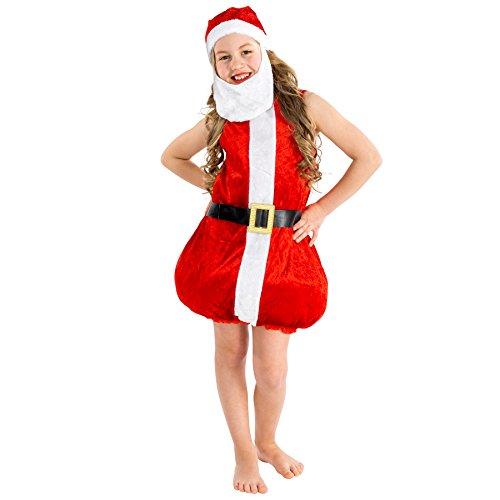 Süßes Kinder Weihnachtskostüm | Kleid unten gefüttert und ausgestellt | inkl. Zipfelmütze (3-5 Jahre | Nr. (Santa Outfit Miss Kleine)